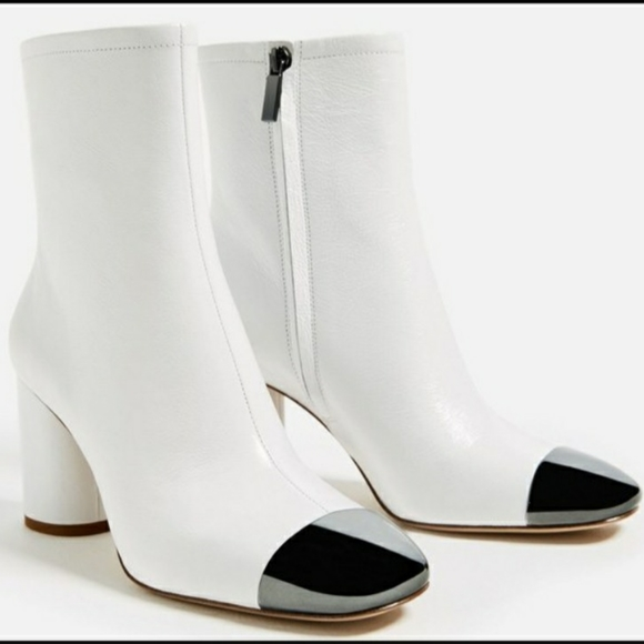 Zara Shoes | Zara White Ankle Boots